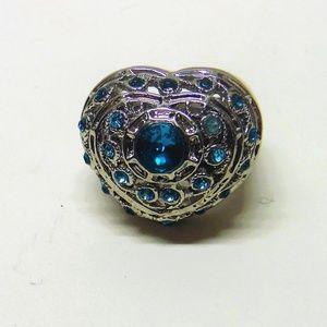 Aqua Heart Shaped Fashion Ring